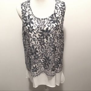 CARTISE  blue white sleeveless blouse. Size: 12